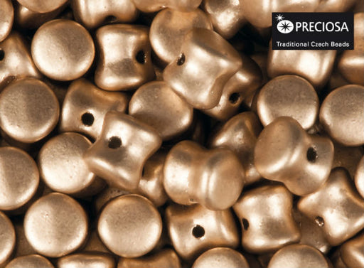 50 pcs Preciosa Pellet™ Beads, 4x6mm, Silky Light Gold, Czech Glass