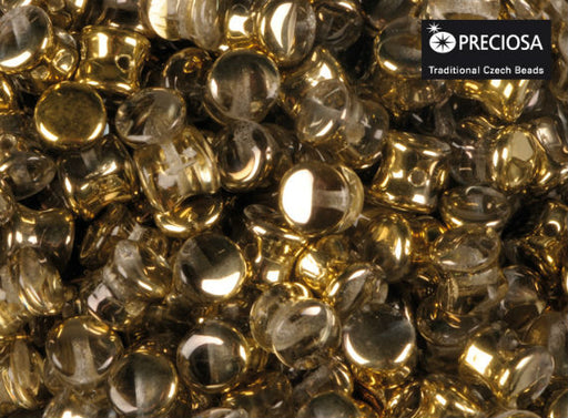 50 pcs Preciosa Pellet™ Beads, 4x6mm, Crystal Half Gold, Czech Glass
