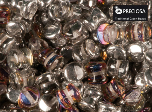 50 pcs Preciosa Pellet™ Beads, 4x6mm, Crystal Volcano, Czech Glass