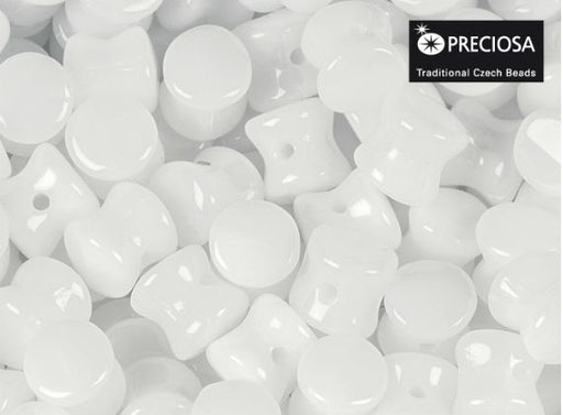 50 pcs Preciosa Pellet™ Beads, 4x6mm, Alabaster White, Czech Glass