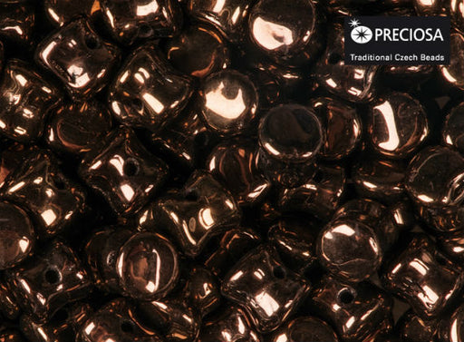 50 pcs Preciosa Pellet™ Beads, 4x6mm, Jet Vega Luster, Czech Glass