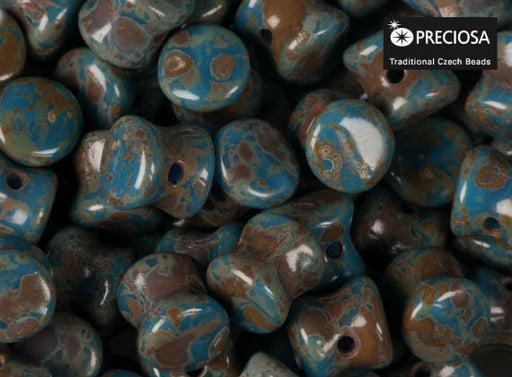50 pcs Preciosa Pellet™ Beads, 4x6mm, Opaque Blue Travertine, Czech Glass