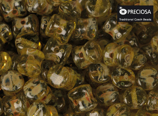 50 pcs Preciosa Pellet™ Beads, 4x6mm, Olivine Transparent Travertine, Czech Glass