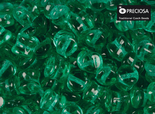 50 pcs Preciosa Pellet™ Beads, 4x6mm, Emerald Transparent, Czech Glass