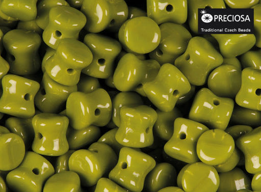 50 pcs Preciosa Pellet™ Beads, 4x6mm, Opaque Green, Czech Glass