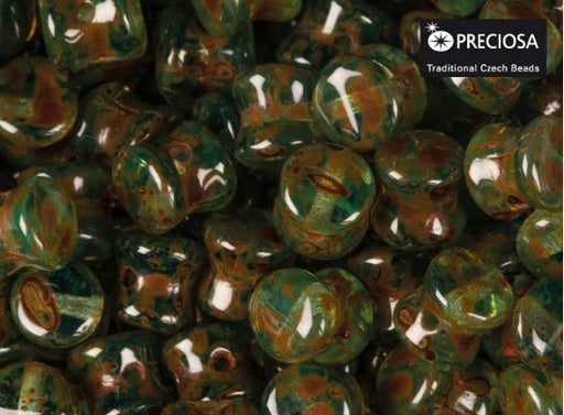 50 pcs Preciosa Pellet™ Beads, 4x6mm, Aqua Travertine, Czech Glass