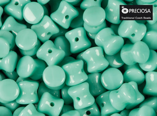 50 pcs Preciosa Pellet™ Beads, 4x6mm, Opaque Turquoise Green, Czech Glass