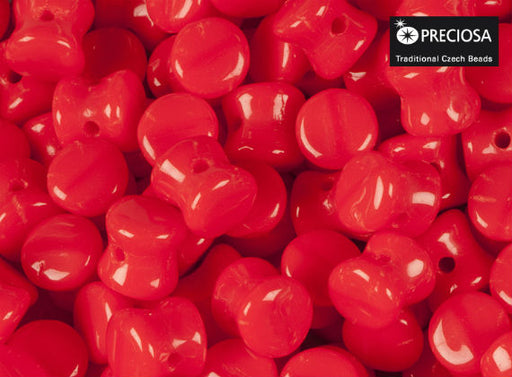 50 pcs Preciosa Pellet™ Beads, 4x6mm, Opaque Red Coral, Czech Glass