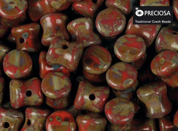 Preciosa Pellet™ Beads, 4x6mm, Red Coral Travertine, Czech Glass