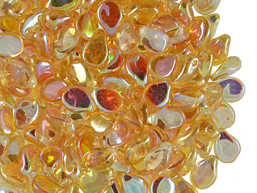Preciosa Pip™ Beads, 7x5mm, Crystal Orange Luster AB, Czech Glass