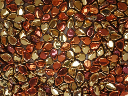50 pcs Preciosa Pip™ Beads, 7x5mm, California Gold Rush, Czech Glass