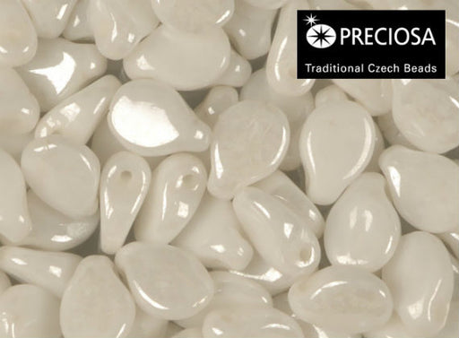 50 pcs Preciosa Pip™ Beads, 7x5mm, Chalk White Luster, Czech Glass