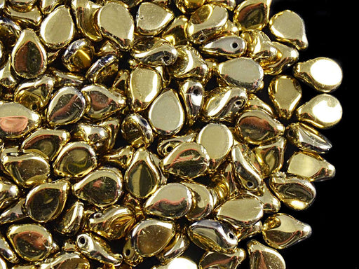 50 pcs Preciosa Pip™ Beads, 7x5mm, Jet Gold Coating, Czech Glass