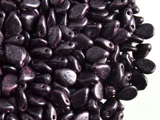 50 pcs Preciosa Pip™ Beads, 7x5mm, Jet Black Purple Speckled, Czech Glass