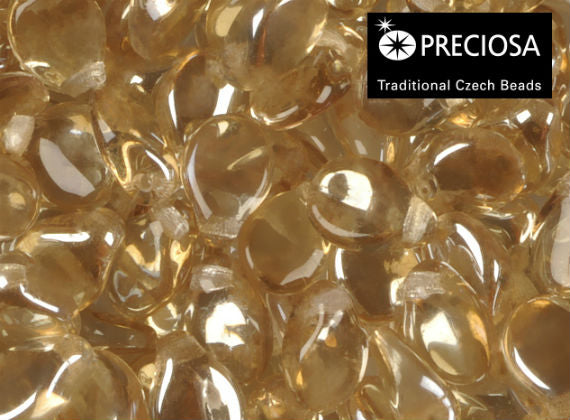Preciosa Pip™ Beads, 7x5mm, Crystal Honey, Czech Glass