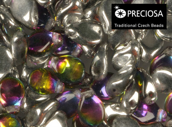 50 pcs Preciosa Pip™ Beads, 7x5mm, Crystal Silver Vitrail, Czech Glass