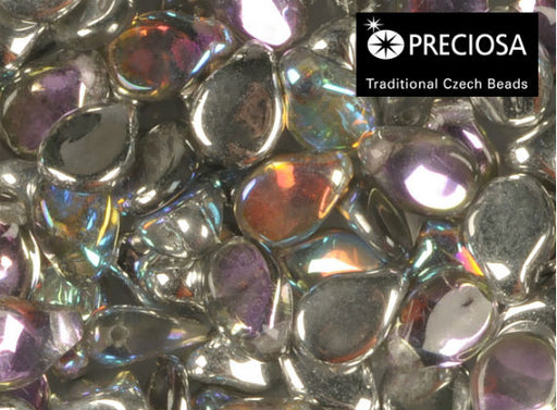 50 pcs Preciosa Pip™ Beads, 7x5mm, Crystal Silver Rainbow, Czech Glass