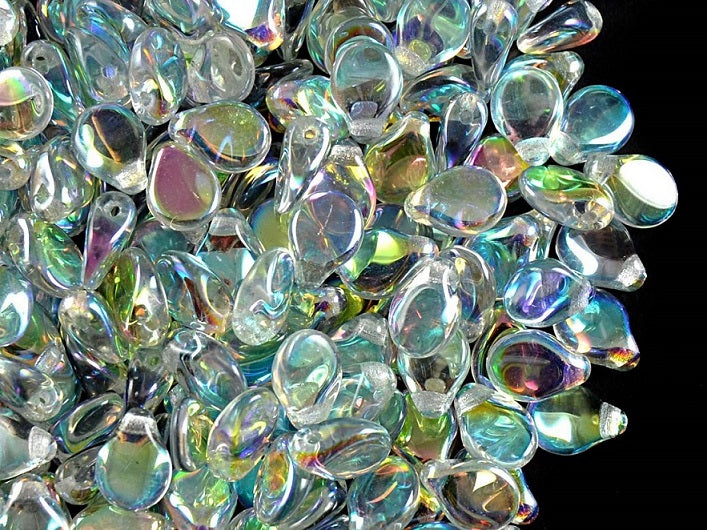 50 pcs Preciosa Pip™ Beads, 7x5mm, Crystal Green Rainbow, Czech Glass