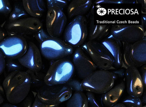 50 pcs Preciosa Pip™ Beads, 7x5mm, Jet Navy Blue, Czech Glass