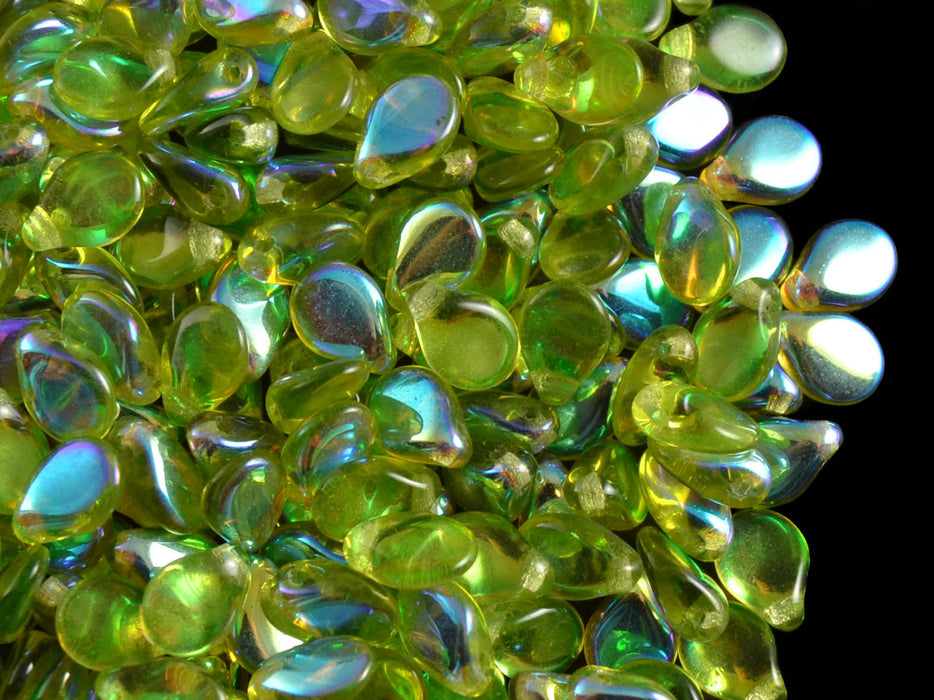 50 pcs Preciosa Pip™ Beads, 7x5mm, Olivine AB, Czech Glass