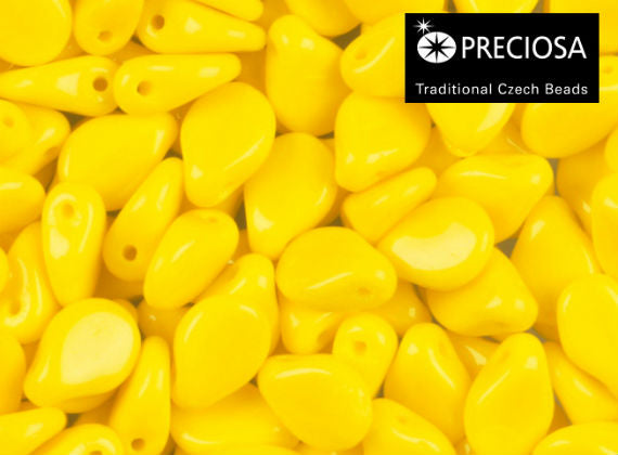 50 pcs Preciosa Pip™ Beads, 7x5mm, Yellow Opaque, Czech Glass