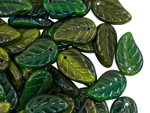 50 pcs Leaves Pressed Beads, 9x14mm, Dark Green Olive, Czech Glass