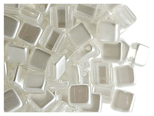 40 pcs 2-hole Tile Beads, 6x6x3.2mm, Pearl White Opal, Czech Glass