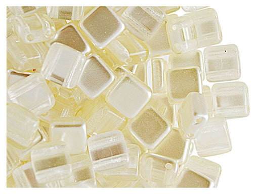 40 pcs 2-hole Tile Beads, 6x6x3.2mm, Pearl Ivory, Czech Glass