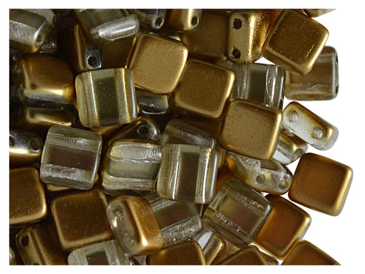 40 pcs 2-hole Tile Beads, 6x6x3.2mm, Pearl Bronze Gold, Czech Glass