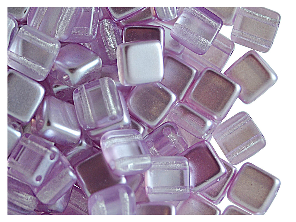 40 pcs 2-hole Tile Beads, 6x6x3.2mm, Pearl Lilac, Czech Glass