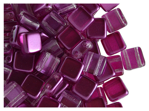 40 pcs 2-hole Tile Beads, 6x6x3.2mm, Pearl Purple, Czech Glass