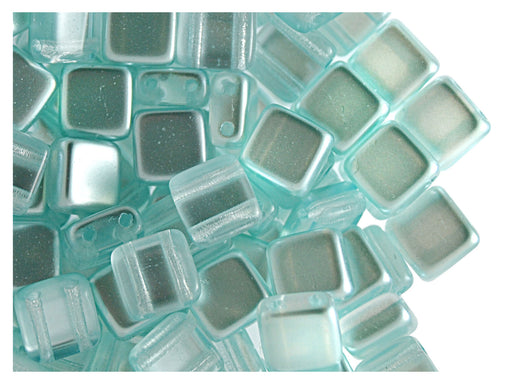 40 pcs 2-hole Tile Beads, 6x6x3.2mm, Pearl Aqua, Czech Glass