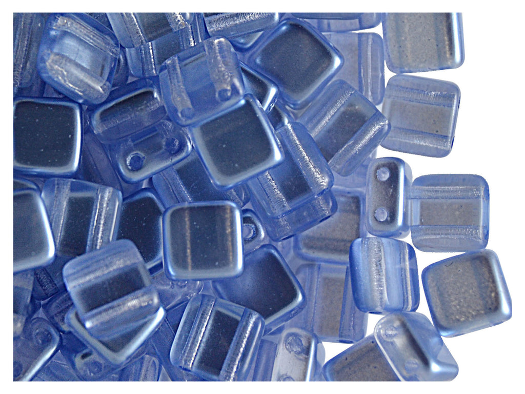 2-hole Tile Beads, 6x6x3.2mm, Pearl Light Blue, Czech Glass