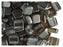 40 pcs 2-hole Tile Beads, 6x6x3.2mm, Pearl Hematite (Gray), Czech Glass