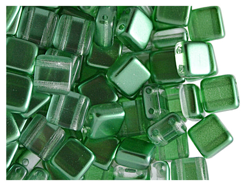 40 pcs 2-hole Tile Beads, 6x6x3.2mm, Pearl Green, Czech Glass