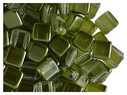 40 pcs 2-hole Tile Beads, 6x6x3.2mm, Pearl Olivine, Czech Glass