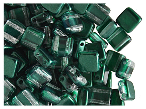 40 pcs 2-hole Tile Beads, 6x6x3.2mm, Pearl Dark Green, Czech Glass