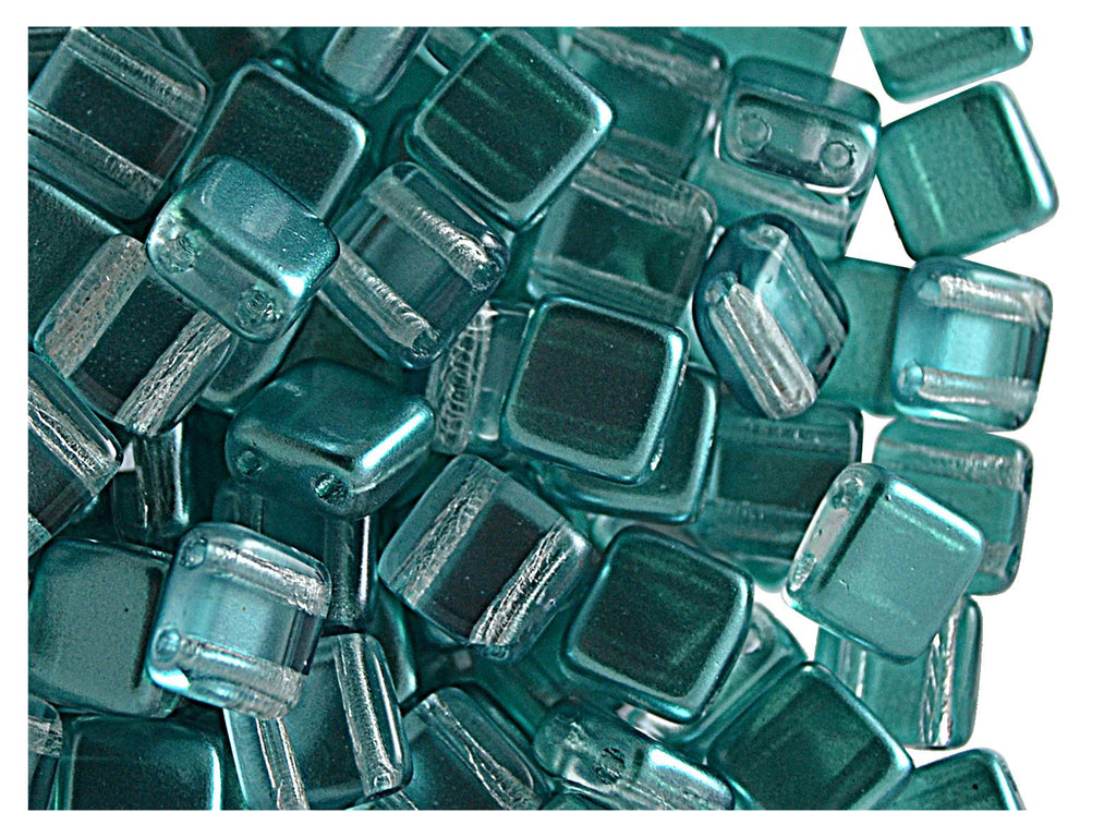 40 pcs 2-hole Tile Beads, 6x6x3.2mm, Pearl Blue Green, Czech Glass
