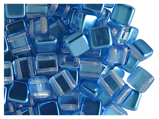 40 pcs 2-hole Tile Beads, 6x6x3.2mm, Pearl Blue, Czech Glass