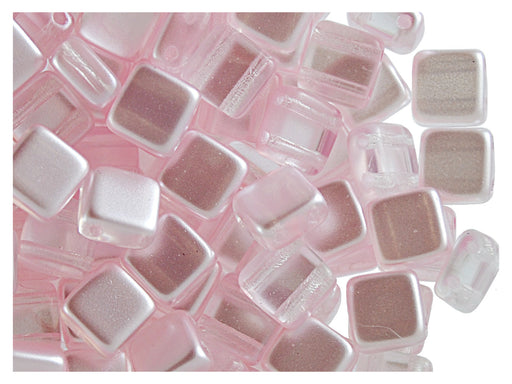 40 pcs 2-hole Tile Beads, 6x6x3.2mm, Pearl Light Pink, Czech Glass