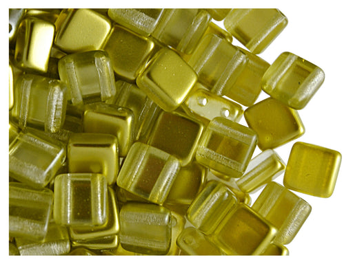 40 pcs 2-hole Tile Beads, 6x6x3.2mm, Pearl Gold, Czech Glass