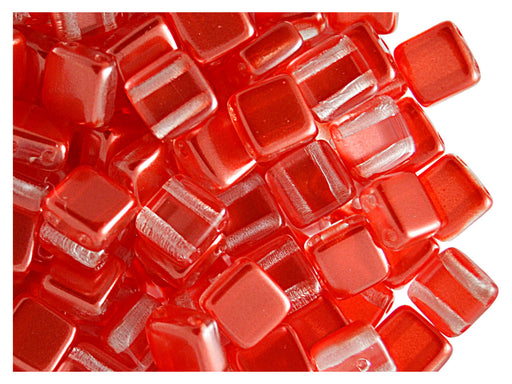 40 pcs 2-hole Tile Beads, 6x6x3.2mm, Pearl Red Orange, Czech Glass
