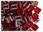 40 pcs 2-hole Tile Beads, 6x6x3.2mm, Pearl Garnet (Dark Ruby), Czech Glass