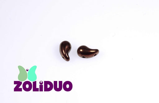 20 pcs 2-hole ZoliDuo® Right Pressed Beads, 5x8mm, Jet Bronze Luster, Czech Glass