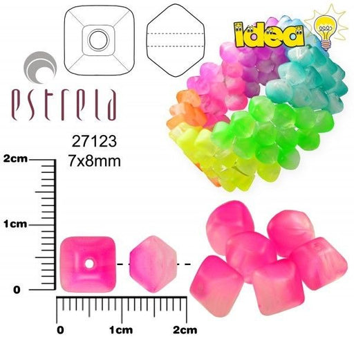 20 pcs Lucerna NEON Beads, 7x8mm, Pink, Czech Glass
