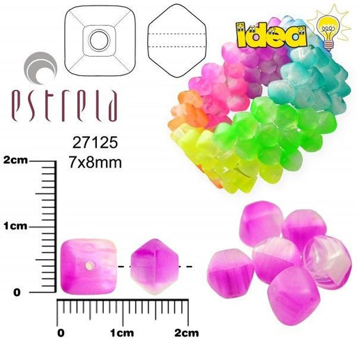 20 pcs Lucerna NEON Beads, 7x8mm, Purple, Czech Glass