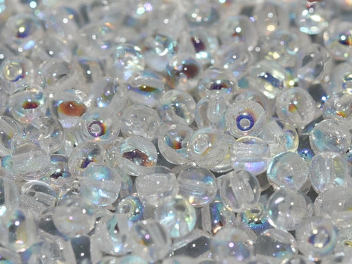 50 pcs 2-hole RounDuo® Pressed Beads, 5mm, Crystal AB, Czech Glass