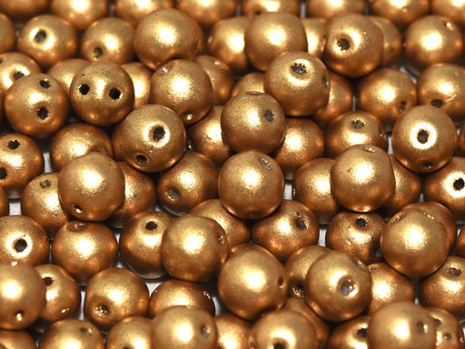 50 pcs 2-hole RounDuo® Pressed Beads, 5mm, Crystal Bronze Pale Gold, Czech Glass