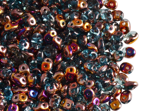 20 g SuperDuo Seed Beads 2.5X5mm with Two Holes, Czech Glass, Aquamarine Sliperit