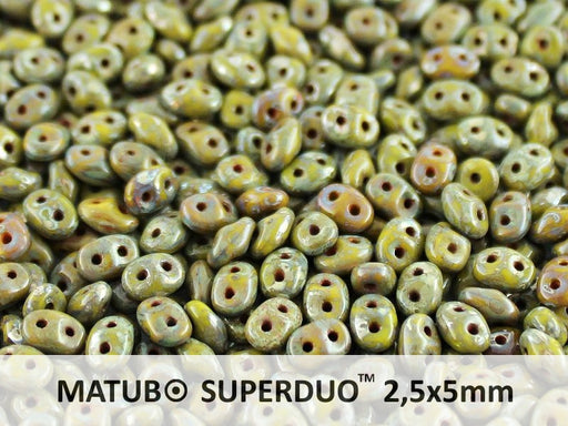 20 g 2-hole SuperDuo™ Seed Beads, 2.5x5mm, Opaque Green Picasso, Czech Glass